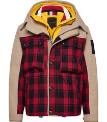 3 in 1 check jacket parka jas beige tommy hilfiger