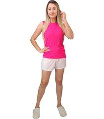 pijama feminino rosa e salmão com listras brancas