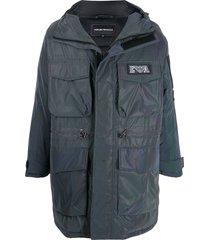 emporio armani oversized multi-pocket padded coat - grey