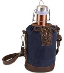 legacy by picnic time insulated navy & brown growler tote with 64-oz. copper stainless steel growler