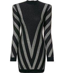 balmain lurex chevron turtleneck mini dress - black