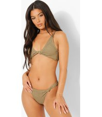 mix & match gekreukelde opgeknoopte bikini top, light khaki