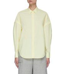 drop shoulder button-down shirt