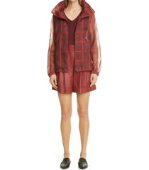 akris firis cuffed nappa leather shorts, size 6 in marsala at nordstrom