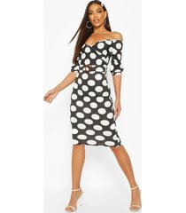 large polka dot off shoulder wrap midi dress, black