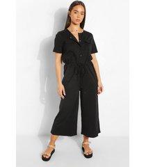 culotte jumpsuit met utility zakken en knopen, black