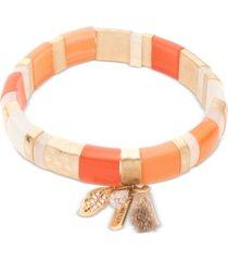 lonna & lilly gold-tone multicolor stripe stretch bracelet