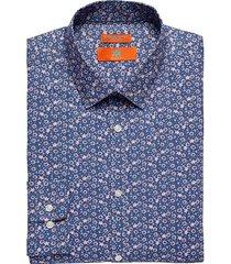 egara orange men's extreme slim fit dress shirt pink floral - size: 17 1/2 34/35