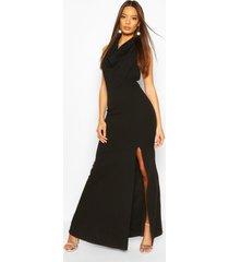 cowl neck halter high split maxi dress, black