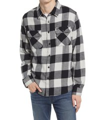 brixton bowery check flannel button-up shirt, size xx-large in black/vapor at nordstrom
