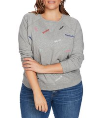 plus size women's court & rowe embroidered french terry sweatshirt