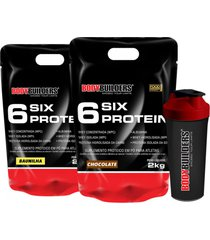 kit 2x 6 six protein 2kg (1 chocolate + 1 baunilha) + coqueteleira – bodybuilders