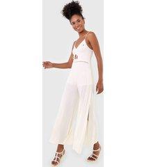 macacã£o roxy pantalona where you move off-white - off white - feminino - dafiti