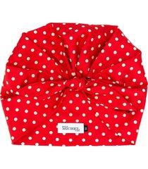 maison michel cindy polka-dot silk turban - red