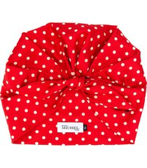 maison michel cindy polka-dot silk turban - red
