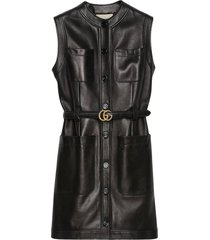 gucci belted leather dress - black