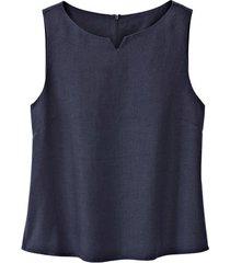 linnen top met ritssluiting op de rug, nachtblauw 42