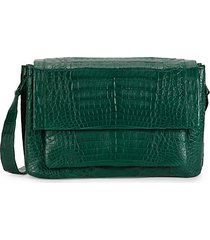 medium crocodile leather messenger bag