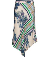 asymmetric skirt w. waistband knälång kjol multi/mönstrad coster copenhagen