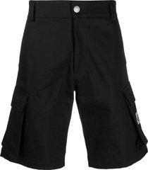 gcds black cotton cargo pocket shorts