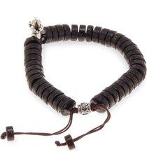 jean claude men's adjustable wood & silvertone bracelet - brown