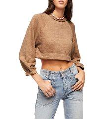 women's free people jade crop sweater, size x-small - brown
