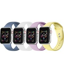 unisex atlantic blue, white, sweet lilac, yellow 4-pack replacement band for apple watch, 38mm