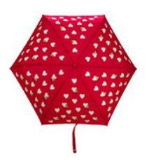 moschino guarda-chuva com padronagem de coração - vermelho