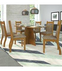 mesa de jantar 6 lugares cida cedro/dakota/off white - viero móveis