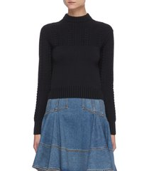 knit panel crop mock neck sweater