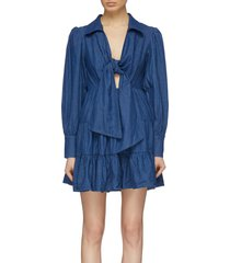 'kind to you' knot front tiered denim dress
