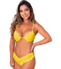 conjunto de calcinha e suti㣠strappy sigh duas tiras amarelo - amarelo - feminino - dafiti