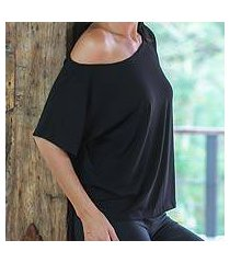cotton jersey knit top, 'black intensity' (indonesia)