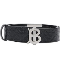 burberry embossed monogram belt - black