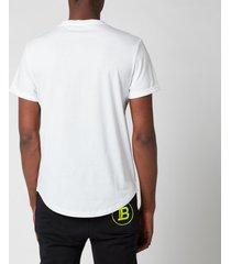 balmain men's coin flock t-shirt - white - xxl
