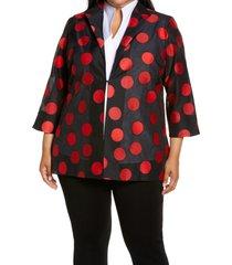 plus size women's ming wang polka dot jacket, size 1x - black