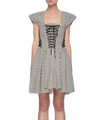 off shoulder lace up front stripe cotton blend mini dress