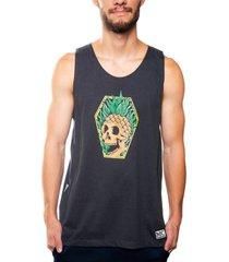 camiseta mxc brasil regata pineapple abacaxi caveira preto - preto - masculino - dafiti