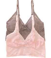 women's felina 2-pack lace bralettes, size large/x-large - pink