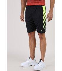 bermuda masculina esportiva ace com faixa lateral neon preta