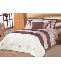 edredom queen jasmin floral rose com bordado lindo e estampa flores com 5 peças - porta travesseiro com laço - aquarela - tricae