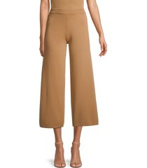 lucca women's sweater wide-leg cropped pants - black - size s