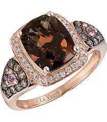 chocolatier pink sapphire, diamond and 14k strawberry gold ring- 0.35 tcw