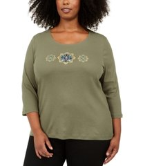 karen scott plus size cotton sequined graphic top, created for macy's