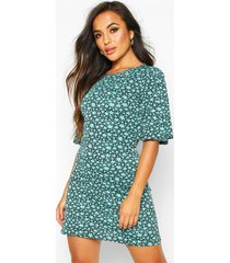 petite floral angel sleeve open back mini dress, turquoise
