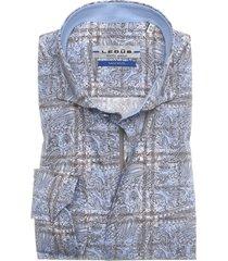 32d418e1f9c ledub tailored fit hemd blauw bruin motief herfst deal
