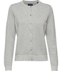 cotton pique cardigan stickad tröja cardigan grå gant