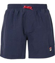 fila short de natação com patch de logo - azul