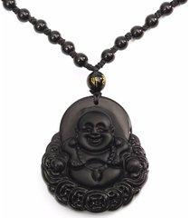 collana unisex semplice collana di buddista di sorriso della moneta intagliata a mano di obsidian naturale