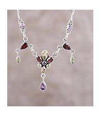 multi-gemstone pendant necklace, 'festive sparkle' (india)